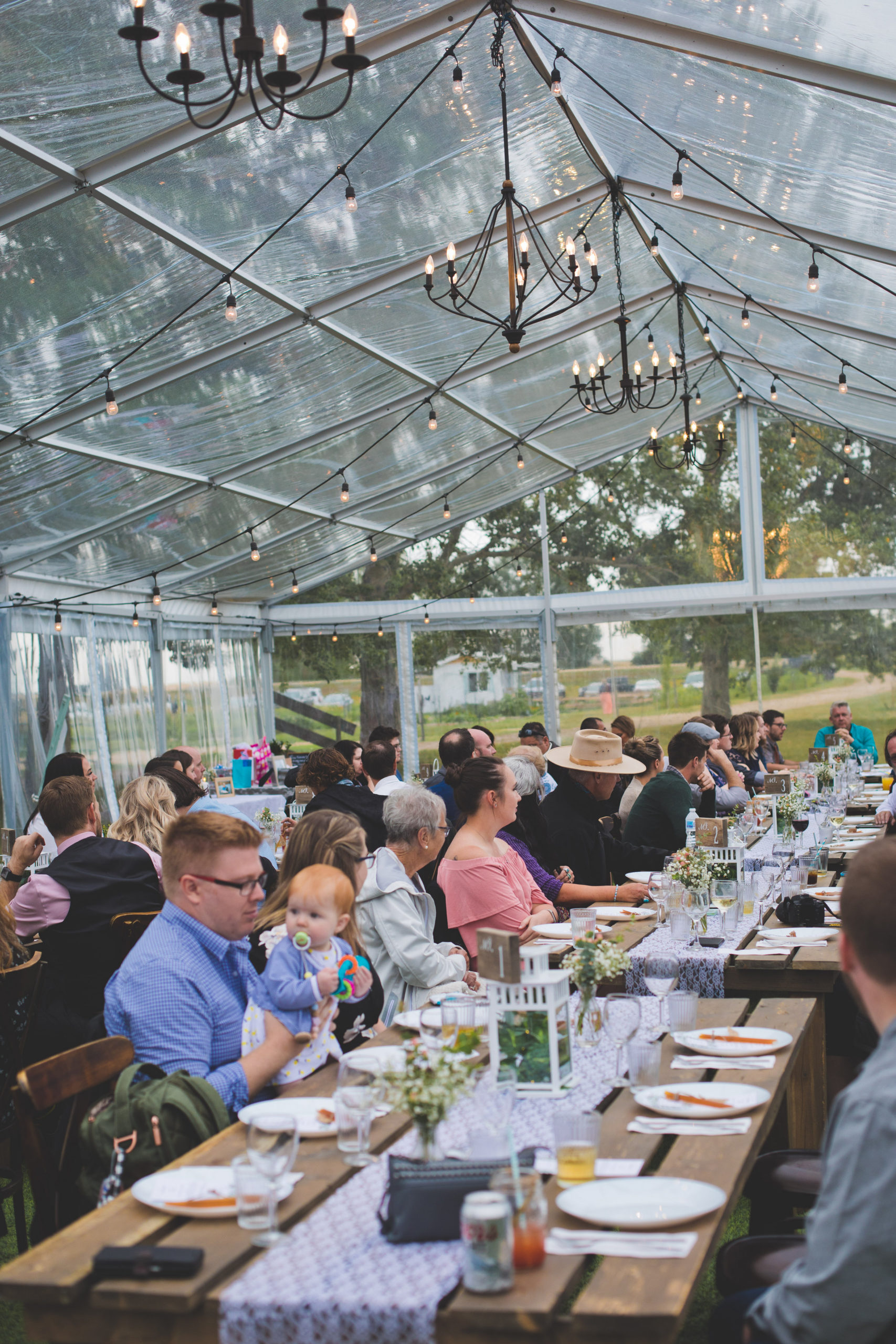 Clear wedding tent with black chandeliers and globe lighting. Guests sit at long wood harvest tables.