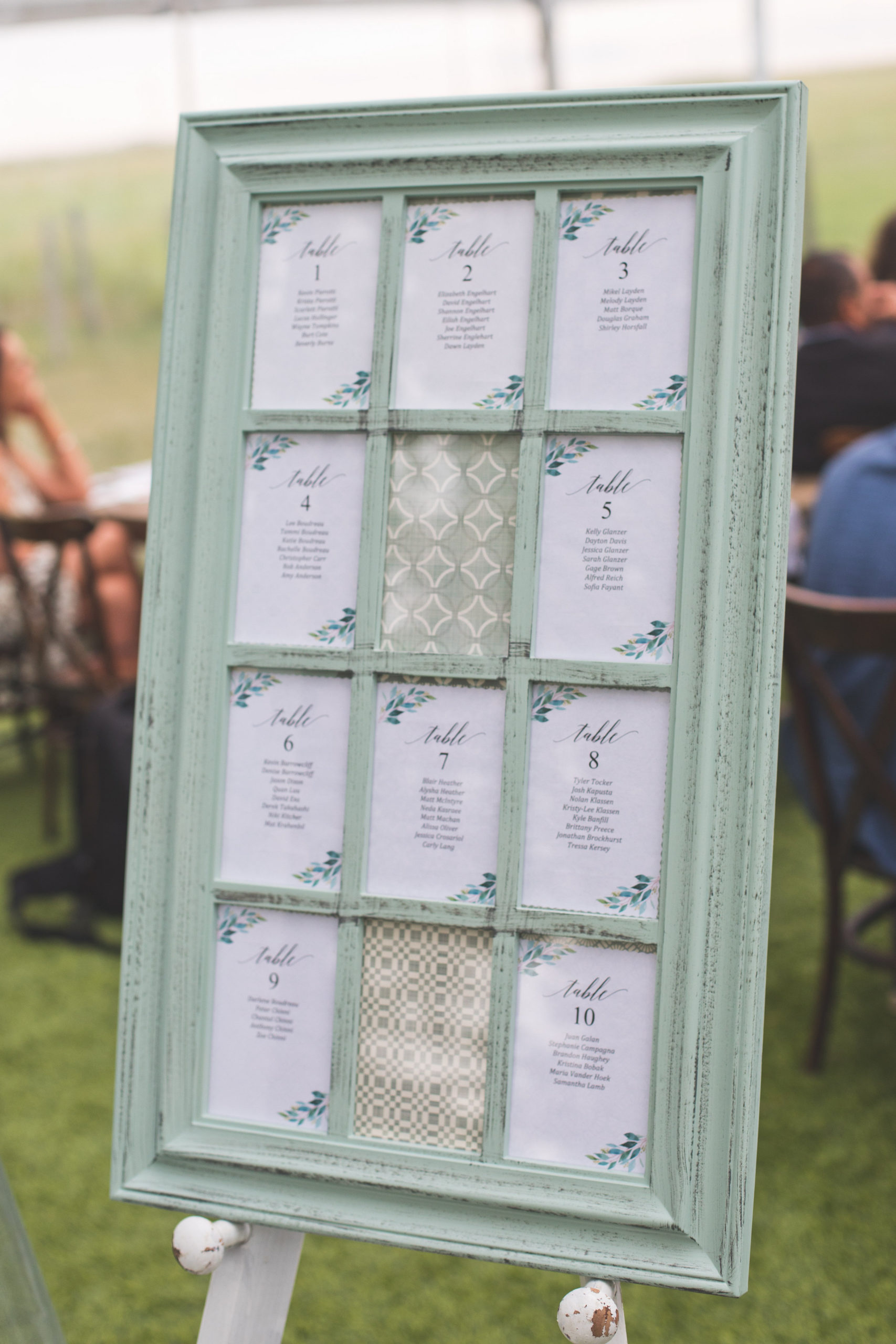 Mint green picture frame placed on a easel and is used a seating chart at this outdoor prairie wedding in the rain.
