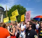 "Signs left to right: ""Human rights for intersex people"" ""No more death penality for homosexuality"" ""Transsexuality is not a disease!"""