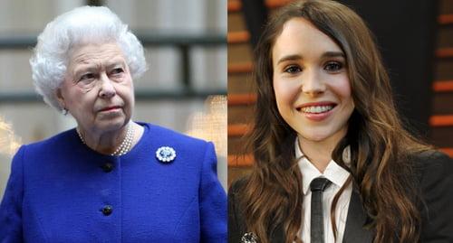Lesbian Celebrity activist Ellen Page and Queen Elizabeth II