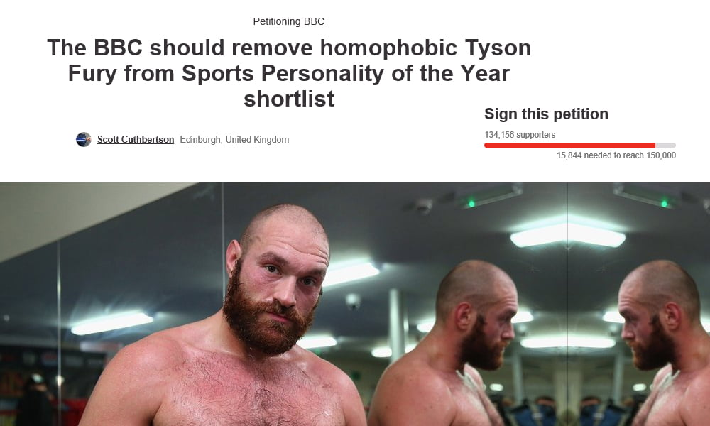 Tyson Fury online petition attracts over 100,000 signatures on change.org