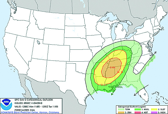 Potential Severe Weather Tonight & Monday
