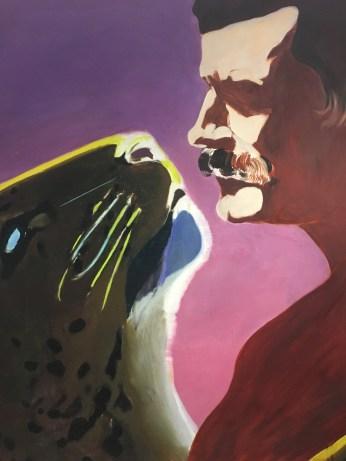 Toile collective de Gilles Aillaud, Eduardo Arroyo et Antonio Recalcati. La panthère et le soldat. Evocation évidente du baiser entre Greta Garbo et John Gilbert dans Intrigues (A woman of affairs) de Clarence Brown, en 1928. Les peintres