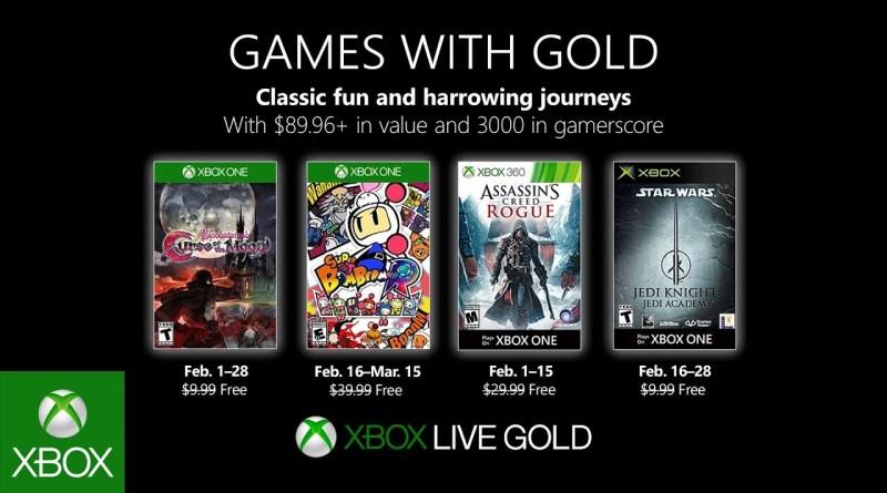 Confira lista de Games With Gold de Fevereiro de 2019
