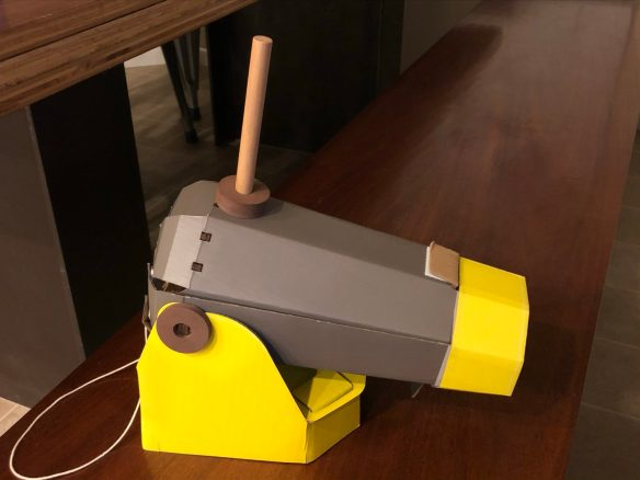 The finished Kiwico Kiwi Crate Cannonball Launcher
