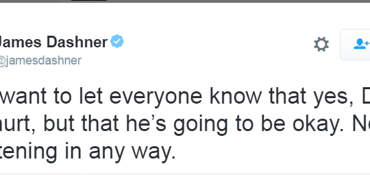 James Dashner Dylan O'Brien injury the Maze Runner