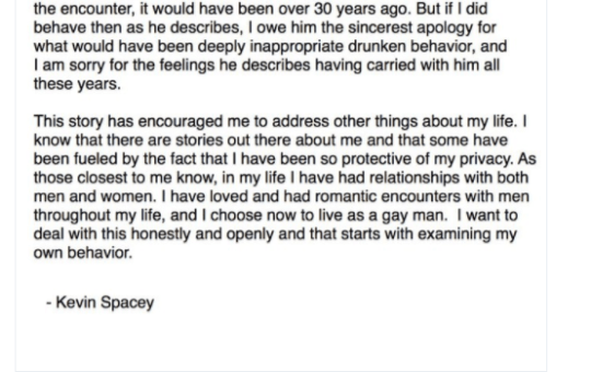 Kevin Spacey Anthony Rapp Sexual Allegation Response