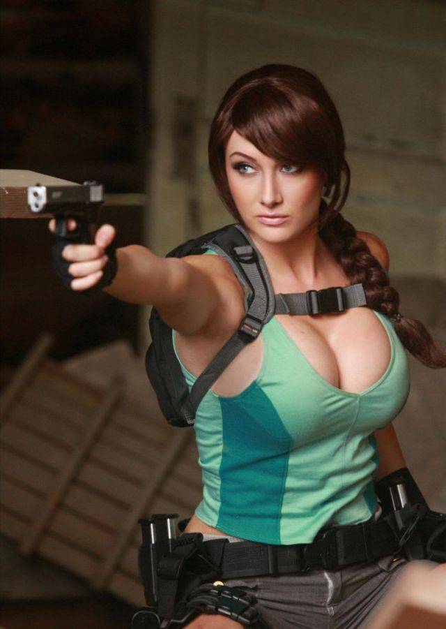 Lara Croft, cosplayed by Dayna Baby Lou