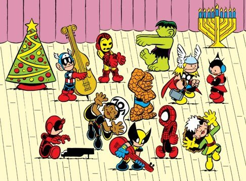 Marvel Heroes recreat A Charlie Brown Christmas by Chris Giarrusso
