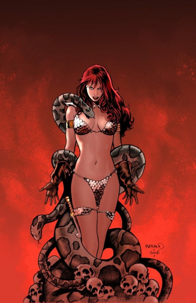 Red Sonja and snakes by Paul Renaud