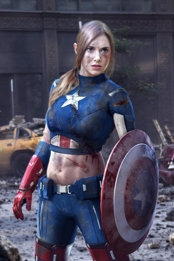 Rule 63 Captain America, cosplayed by Alison Brie
