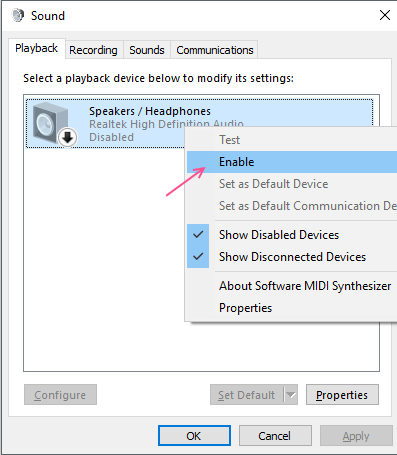 Enable Playback Device