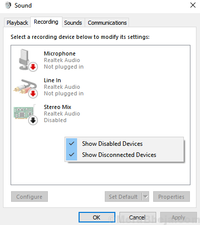Show Disabled Devices Sound Windows 10 Min