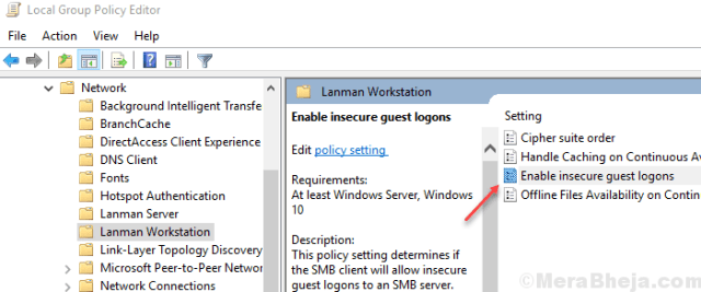 Enable Insecure Guest Logons