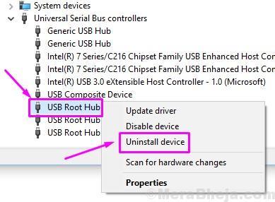 Usb Root Hub Uninstall Device