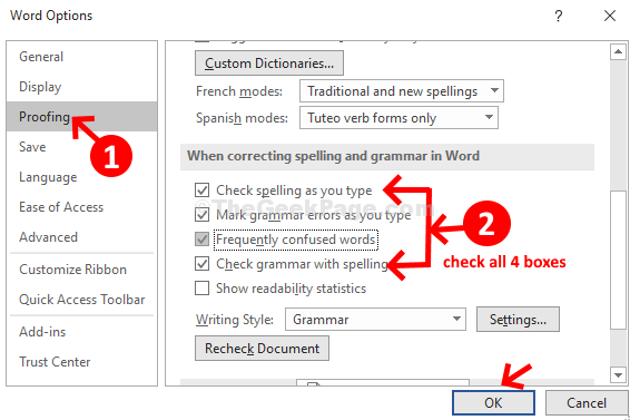 Spell And Grammar Check Not Working In Word 2016 - SPELOL