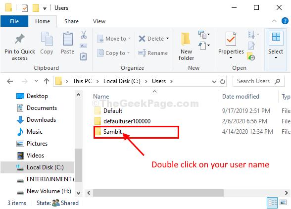 Klik Nama Pengguna