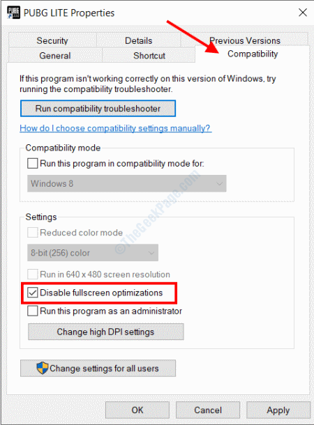 Disable Fullscreen Optimization