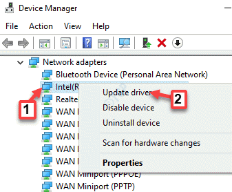 Device Manager Network Adapters Select The Network Driver Right Click Update Diver