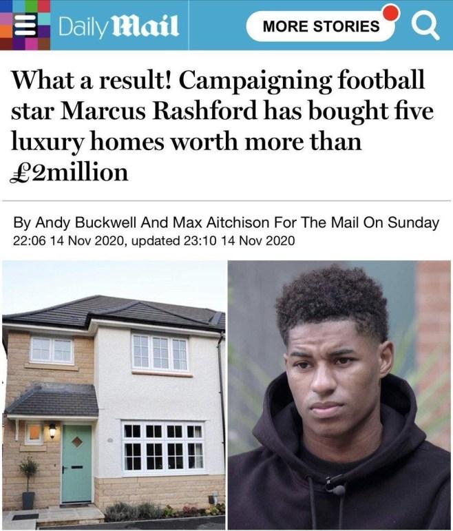 Il Daily Mail polemizza con Rashford