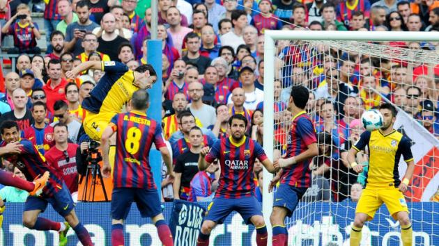 Godin goal vs Barça nella Liga 2013/14