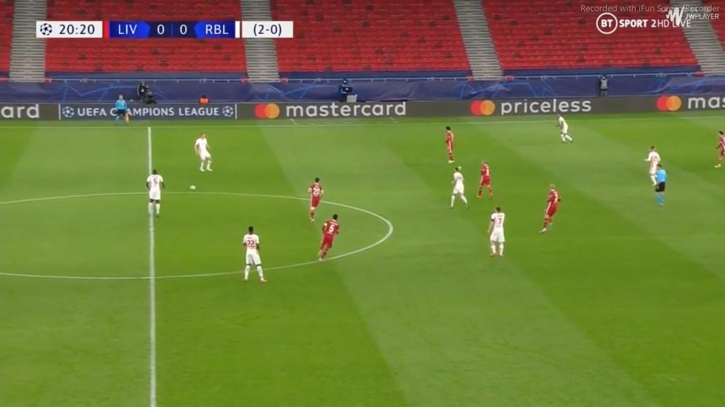 Difesa altissima del Lipsia contro il Liverpool
