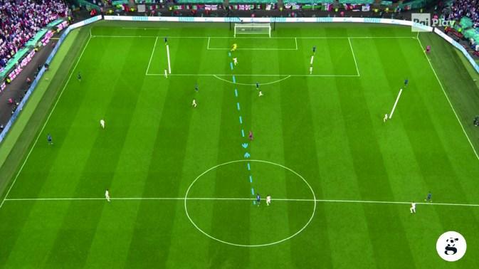 Ciro ha tutto lo spazio per ricevere venendo incontro e far partire la manovra, nonostante la momentanea assenza di Jorginho, ma manca di qualità nella gestione del pallone.