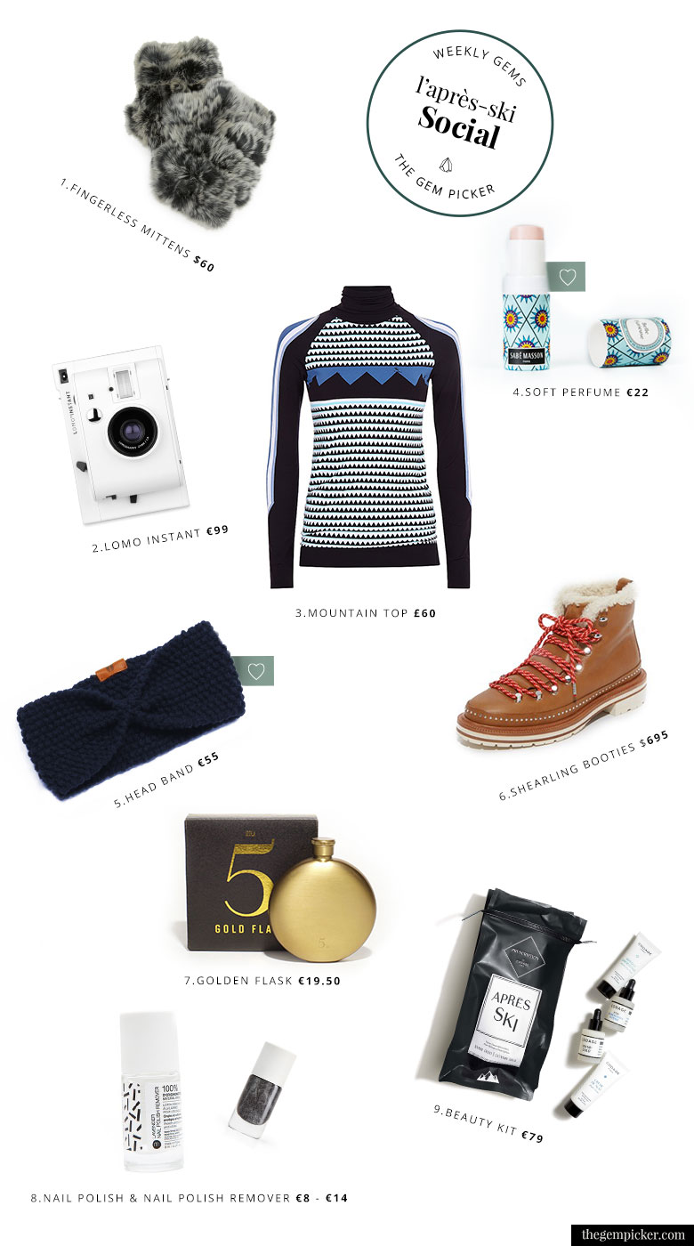 A collection of items to keep it chic for a social apres ski