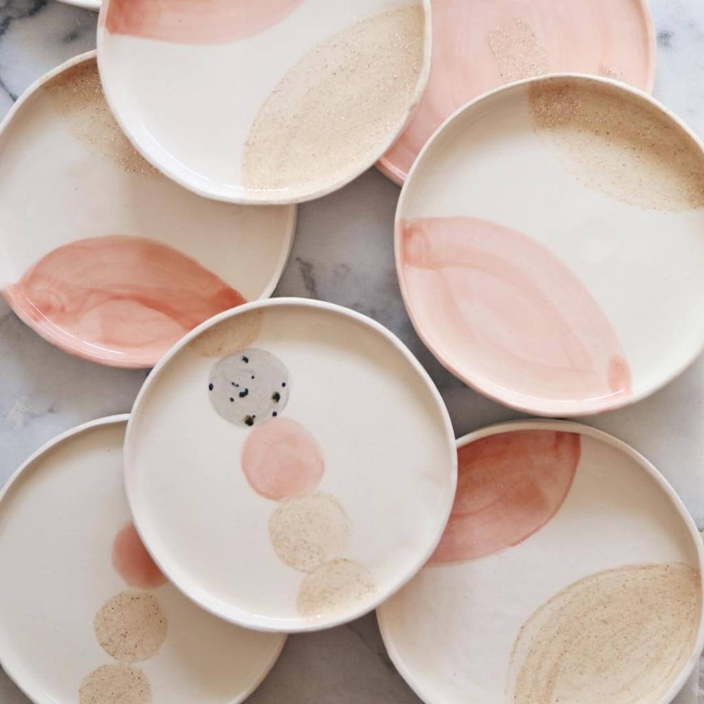 Ceramic Studio Maitoinen - plates with colors light pink and beige