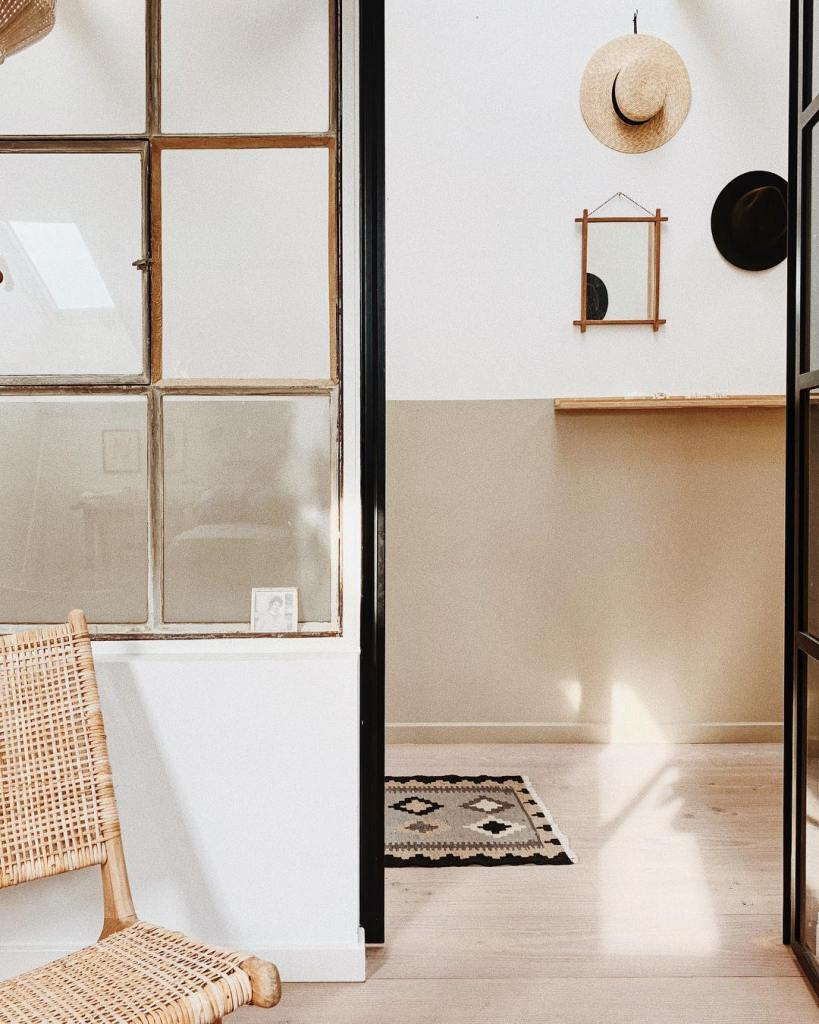 bedroom steel framed glass wall