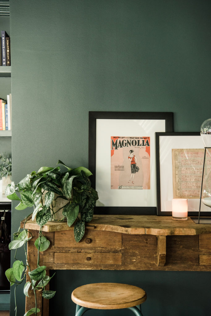 antique art print and accent table