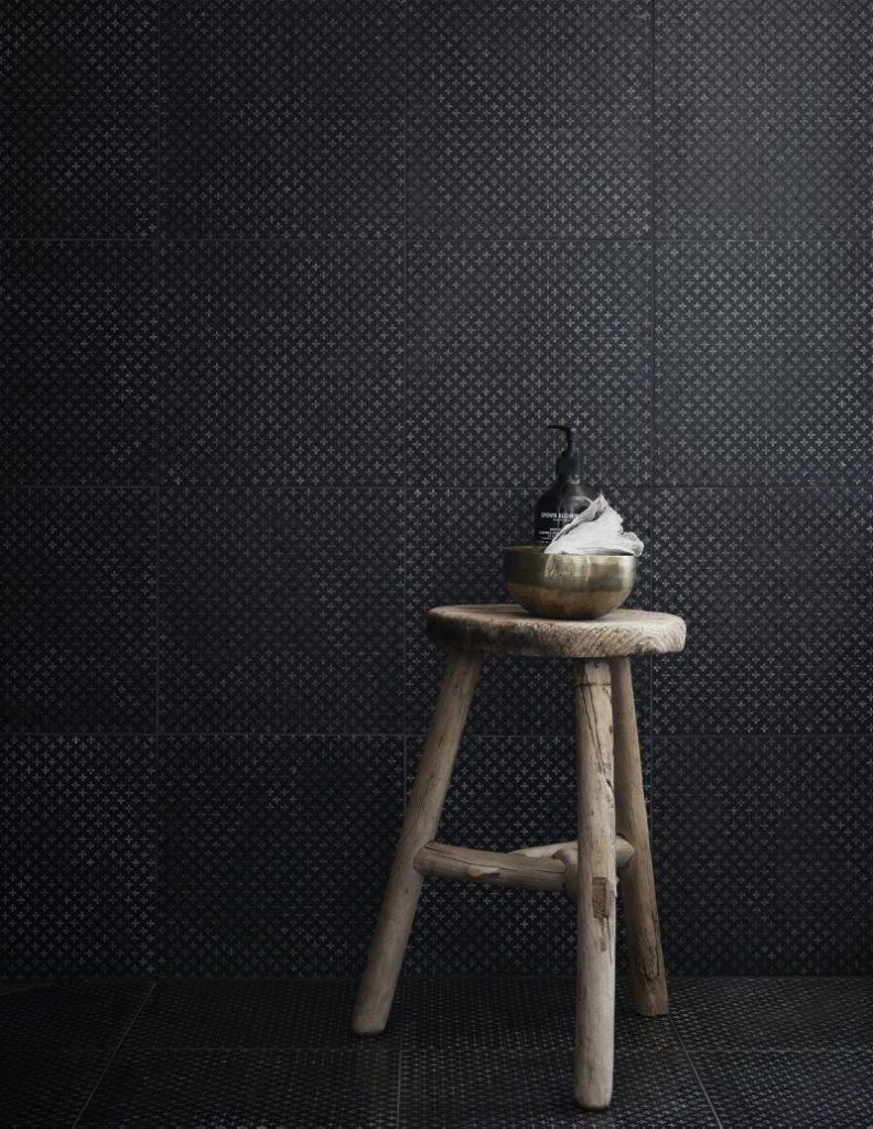 black tiles wooden stool