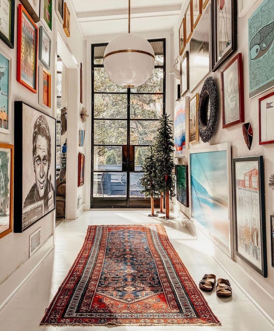 gallery wall ideas-floor to ceiling