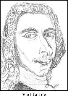 Voltaire Sketch by M.R.P. - Candide - comedy and tragedy - idealism and pessimism - philosophical optimism