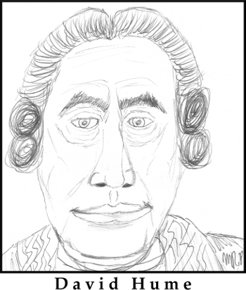 David Hume Sketch by M.R.P. - infallible foreknowledge - free will - determinism