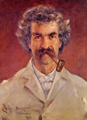 Portrait of Mark Twain by James Carroll Beckwith - Pudd'nhead Wiilson - irony, satire