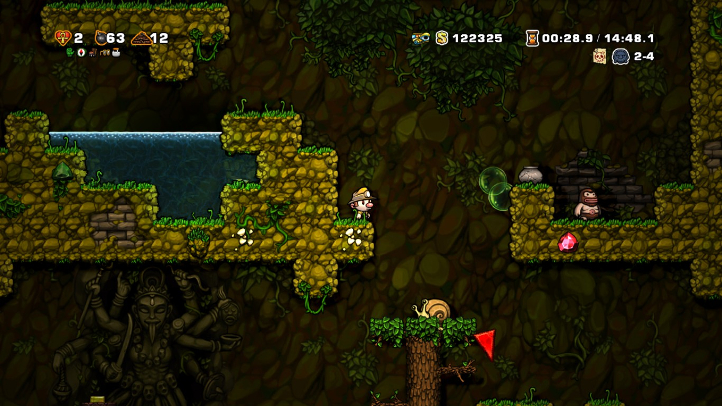 Spelunky screenshot with jungle - best platformer - Mossmouth