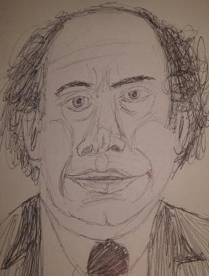 Wallace Shawn Sketch by M.R.P. - Louis Malle, Andre Gregory - conversation, analysis