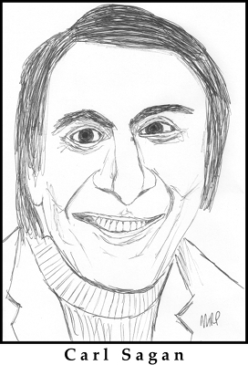 Carl Sagan Sketch by M.R.P. - The Dragons of Eden: Speculations on the Evolution of Human Intelligence - Brandon Carter - Anthropic Principle, physical laws