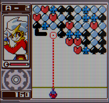 Puzzle Link 2 screenshot with card suit target blocks - Yumekobo, SNK - tile-matching puzzle game cards