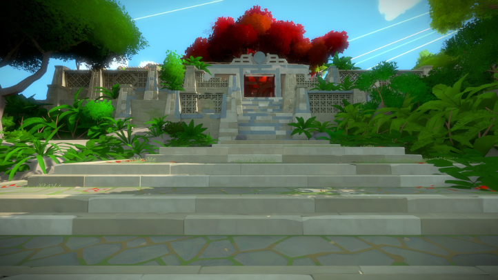 The Witness screenshot with temple - Jonathan Blow, Thekla - analysis, deconstruction, meditation