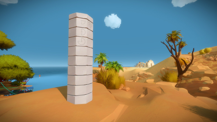 The Witness screenshot with coastal completion pillar - Jonathan Blow, Thekla - analysis, deconstruction, meditation