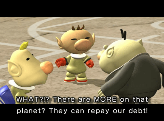 Pikmin 2 screenshot with cutscene featuring Louie and company president - Nintendo, Pikmin, comparison, analysis