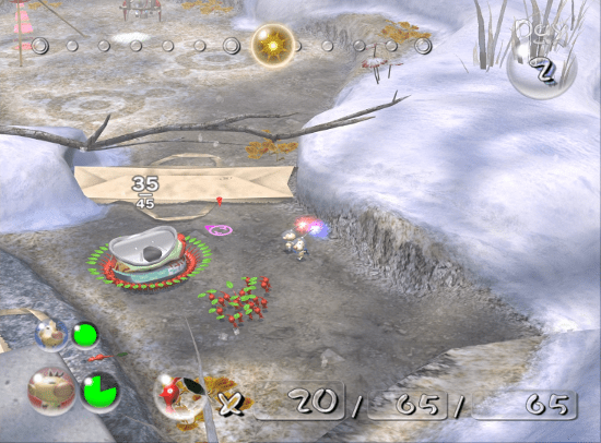 Pikmin 2 screenshot with red pikmin carrying aluminum can - Nintendo, Pikmin, comparison, analysis