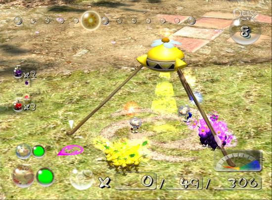 Pikmin 2 screenshot with two leaders near yellow onion - Nintendo, Pikmin, comparison, analysis