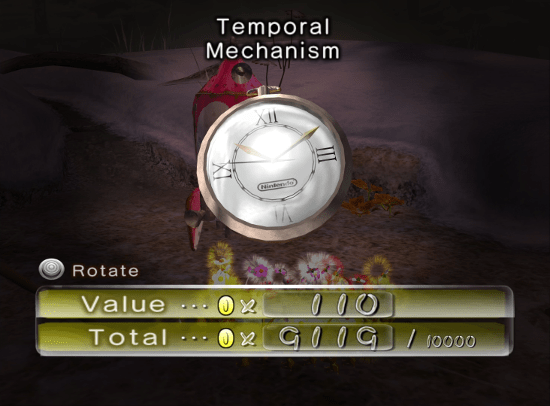 Pikmin 2 screenshot with ostensibly comedic name for a watch - Nintendo, Pikmin, comparison, analysis