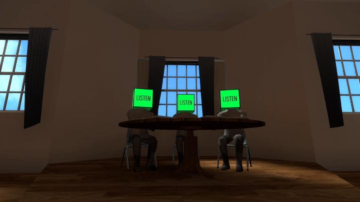 The Beginner's Guide screenshot with cube-headed NPCs - Davey Wreden, analysis, critique