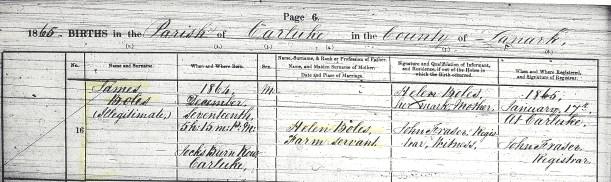 BOLES, James, 1865 Birth Record