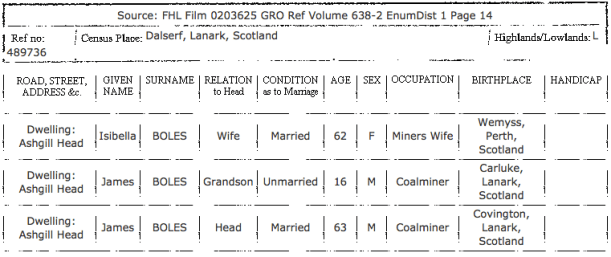 James & Isabella Boles, 1881 Census