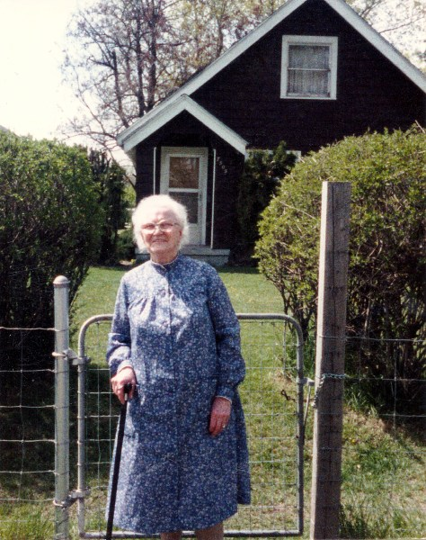 Mary Young Costello, April 1988 in front of her home on Regal in Spokane, WA.